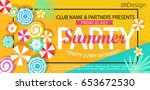 summer party banner with sun...   Shutterstock .eps vector #653672530