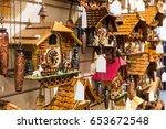 vintage cuckoo clock at lake... | Shutterstock . vector #653672548