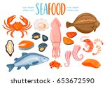 set of seafod icons in cartoon... | Shutterstock .eps vector #653672590