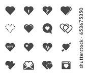 vector black heart icons set on ... | Shutterstock .eps vector #653675350