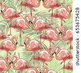 flamingo pattern  vector ...   Shutterstock .eps vector #653675428