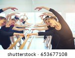 cheerful mature ballerinas... | Shutterstock . vector #653677108