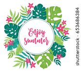 summer greeting card with... | Shutterstock .eps vector #653686384