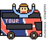 vector pixel art travel bus man | Shutterstock .eps vector #653689093