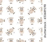 seamless pattern with cute... | Shutterstock . vector #653689198