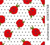 seamless vector pattern. poppy... | Shutterstock .eps vector #653692768