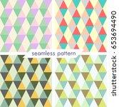 set of four vector seamless... | Shutterstock .eps vector #653694490