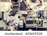 business team working at... | Shutterstock . vector #653695528