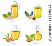 four oil bottles with the... | Shutterstock .eps vector #653698126