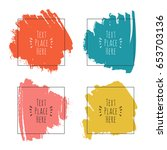 set with ink colorful... | Shutterstock .eps vector #653703136