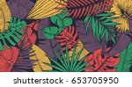 Stock vector vintage tropic pattern design cool floral wallpaper eps vector 653705950