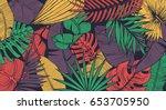 vintage tropic pattern design.... | Shutterstock .eps vector #653705950