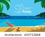 summer time seaside landscape.... | Shutterstock .eps vector #653712868