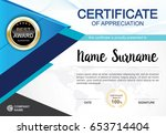 certificate template clean and... | Shutterstock .eps vector #653714404