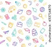 back to school seamless pattern ... | Shutterstock .eps vector #653716870