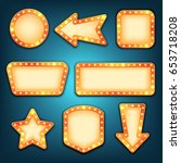 retro marquee frames with light ... | Shutterstock .eps vector #653718208