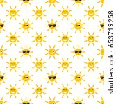 seamless pattern with sun icons ... | Shutterstock . vector #653719258