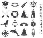 nautical icon set. maritime... | Shutterstock .eps vector #653723410