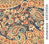 paisley seamless vector pattern   Shutterstock .eps vector #653729554