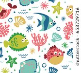 a seamless pattern with cute... | Shutterstock .eps vector #653729716