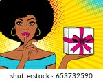 wow face. young sexy surprised... | Shutterstock .eps vector #653732590