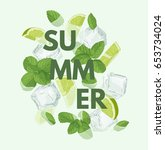 summer letter with mojito... | Shutterstock .eps vector #653734024