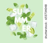 summer letter with mojito... | Shutterstock .eps vector #653734048