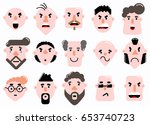 set of characters face flat... | Shutterstock .eps vector #653740723