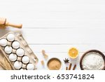 baking ingredients on white... | Shutterstock . vector #653741824