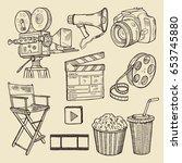 drawing scribbles. vector... | Shutterstock .eps vector #653745880