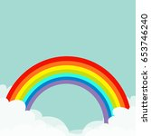 rainbow in the sky. fluffy... | Shutterstock .eps vector #653746240