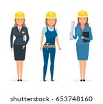 set of girls engineers and... | Shutterstock .eps vector #653748160