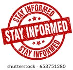 stay informed round red grunge... | Shutterstock .eps vector #653751280