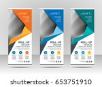 roll up banner stand template... | Shutterstock .eps vector #653751910