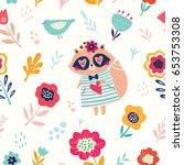 vector seamless pattern with... | Shutterstock .eps vector #653753308