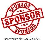 sponsor round red grunge stamp | Shutterstock .eps vector #653754790