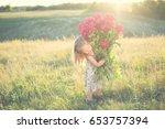 funny portrait of little girl... | Shutterstock . vector #653757394