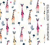 Seamless Pattern With Giraffe...