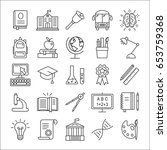 education icons set. outline... | Shutterstock .eps vector #653759368