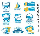 laundry service vector template ... | Shutterstock .eps vector #653766850