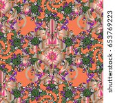 pretty floral print with small... | Shutterstock .eps vector #653769223
