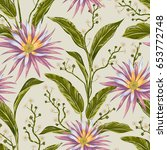 seamless pattern with tropical... | Shutterstock .eps vector #653772748