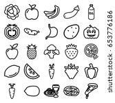 vegetarian icons set. set of 25 ... | Shutterstock .eps vector #653776186