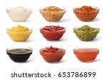 Bowl With Sauce Set Isolated On ...