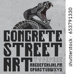 concrete street art typeface... | Shutterstock .eps vector #653791330
