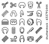 haircut icons set. set of 25... | Shutterstock .eps vector #653791444