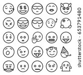 emoticon icons set. set of 25... | Shutterstock .eps vector #653791480