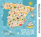 Vector Stylized Map Of Spain....