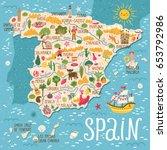 vector stylized map of spain.... | Shutterstock .eps vector #653792986