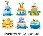 holiday birthday cake | Shutterstock .eps vector #653804080
